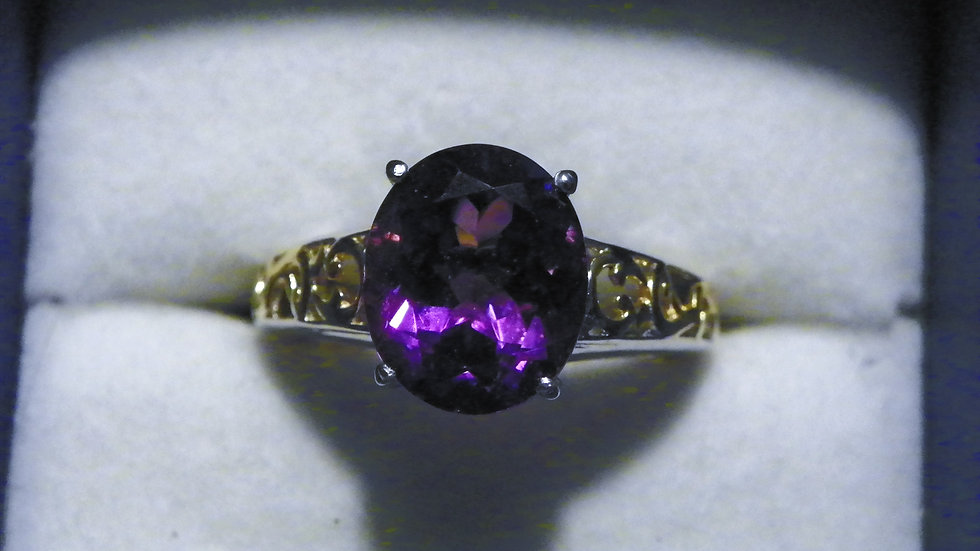 """""""Simply Solitaire"""" Lukasa Amethyst ring in 14K YG and Platinum/925 (3.90ct) sz 7"""