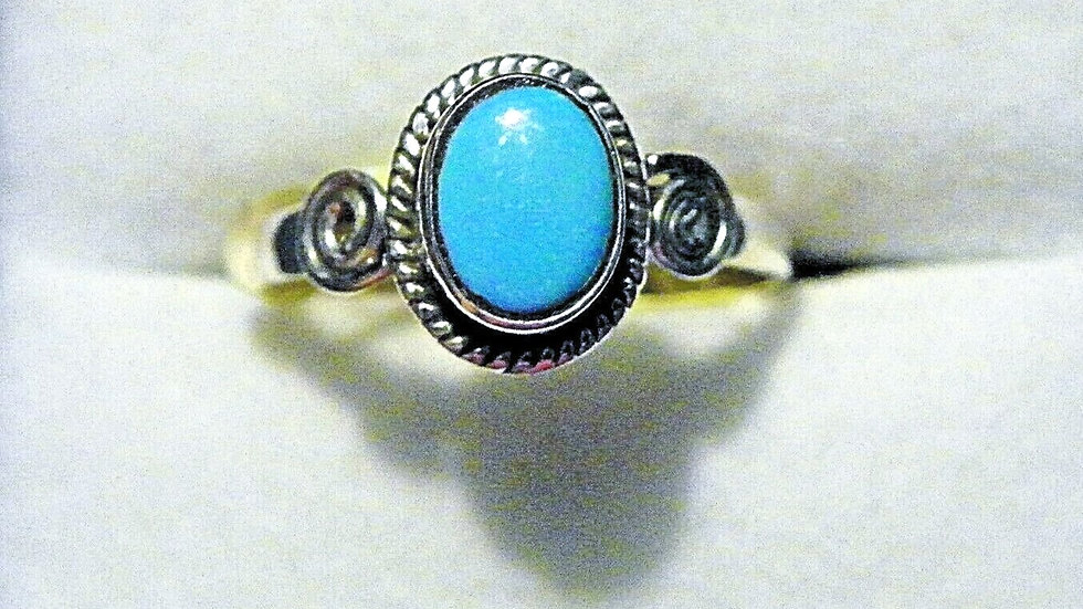 Sleeping Beauty Turquoise (1.06ct) ring in 925 Sterling size 8