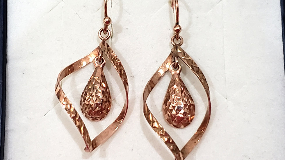 Italian 14K Rose Gold Over Sterling Silver Dangle Earrings 1.5 inches L