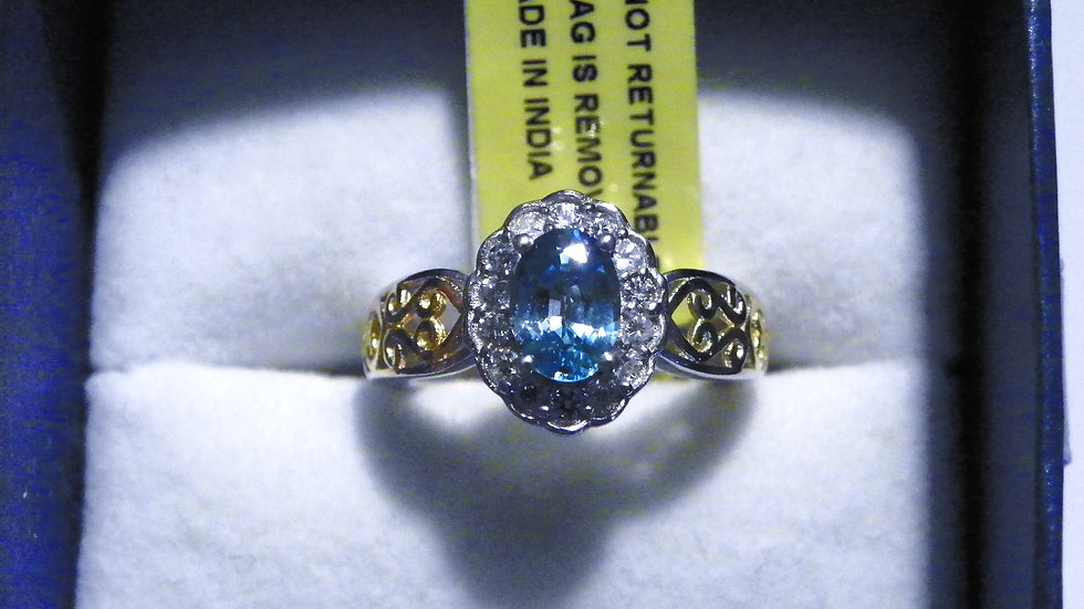 Cambodian Blue Zircon & White Zircon ring 1.35 ct in 14K YG over 925 size 5
