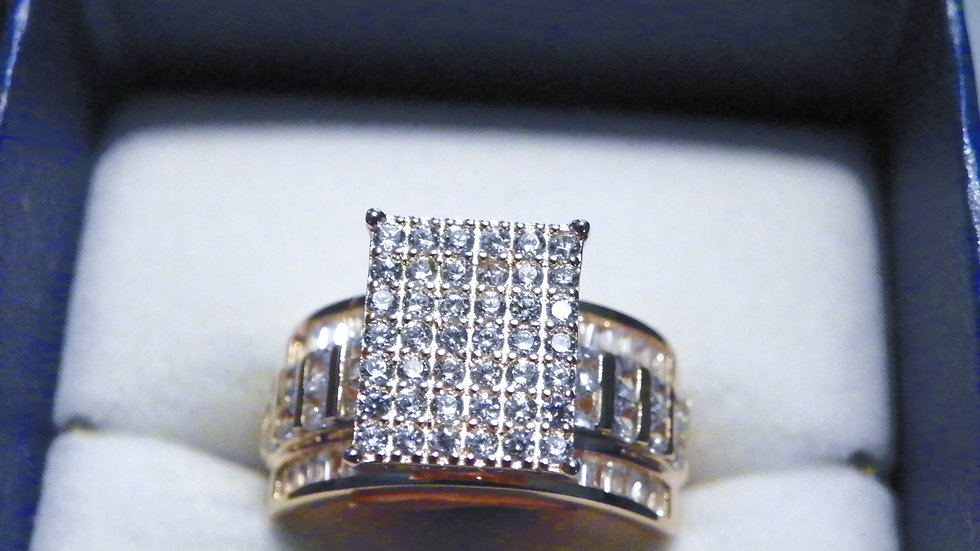 Cubic Zirconia cocktail ring in 14K Rose Gold over 925 Sterling 3.60 cts sz 8