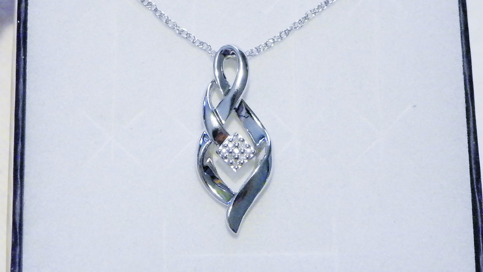 Sterling Silver & Diamond accent swirl pendant with chain 20 inches