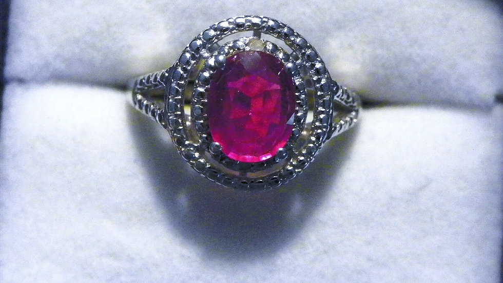 Niassa Ruby & dia halo ring (1.92 cts) in Platinum over 925 Sterling sz 7