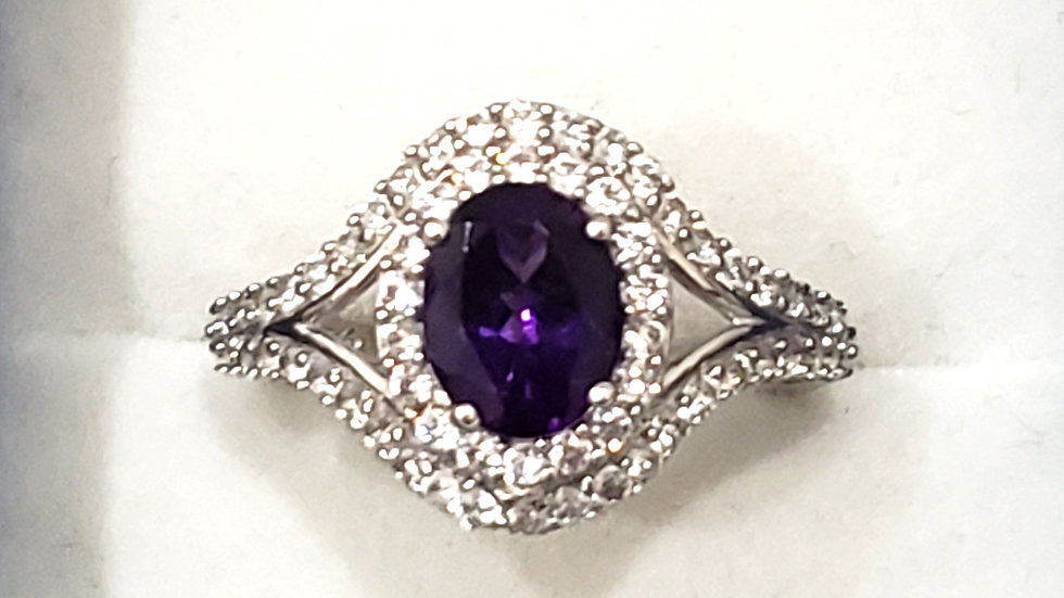 Natural Amethyst & White Zircon double halo ring in Platinum over 925 3.75 TCW