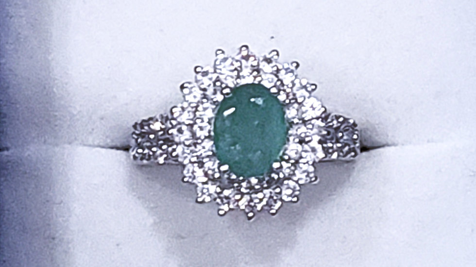 Zambian Emerald & Natural White Zircon halo ring in plat over 925 SS 2.58tcw