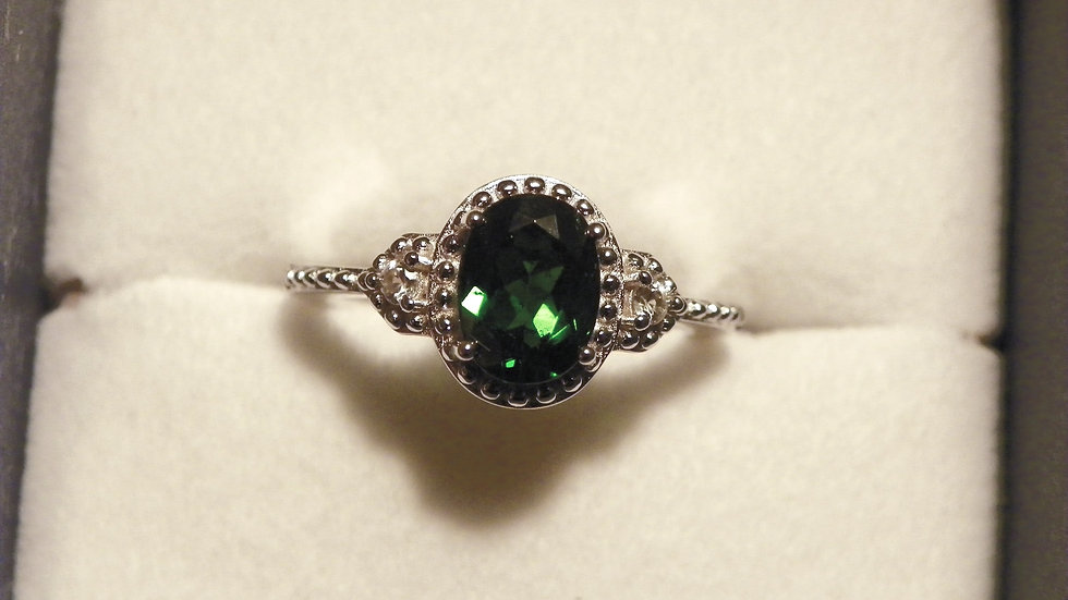 Russian Diopside & White Zircon ring (1.30ct) in 925 Sterling Silver size 7