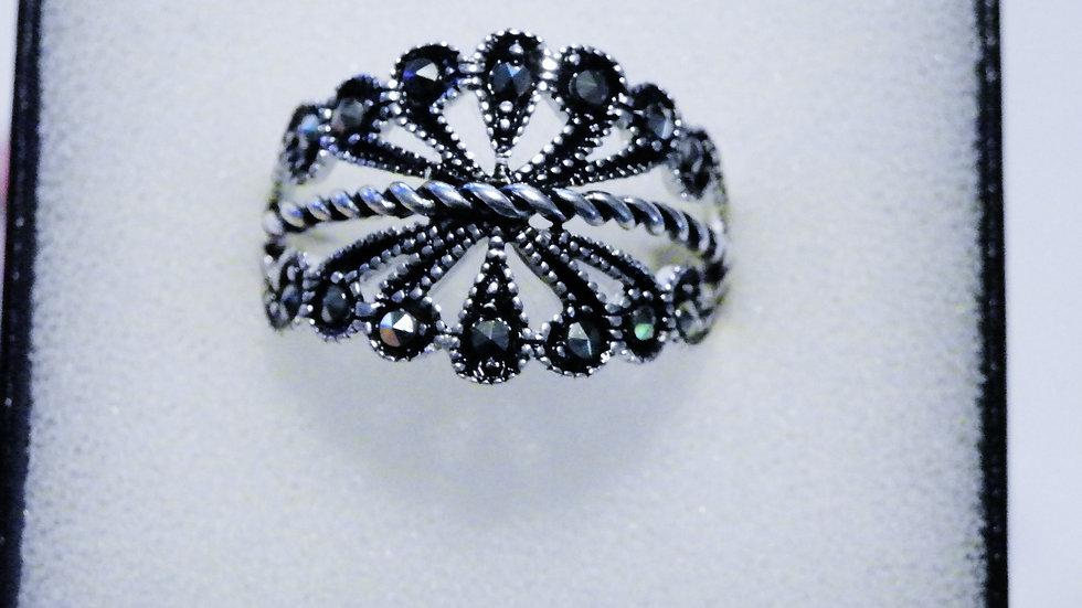 Fancy Marcasite Ring in 925 Sterling Silver size 8