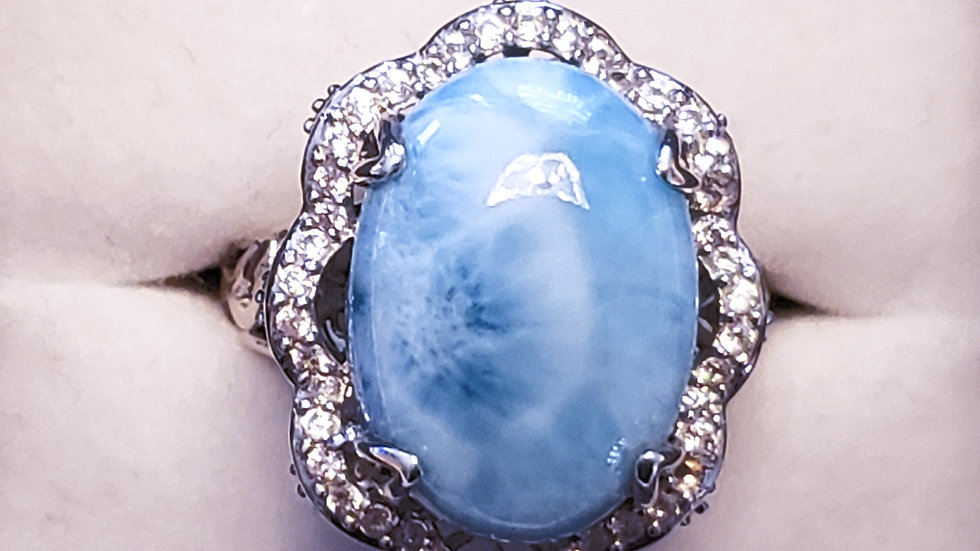 Massive Larimar & White Zircon statement halo ring 12.87 tcw platinum/925 sz 8