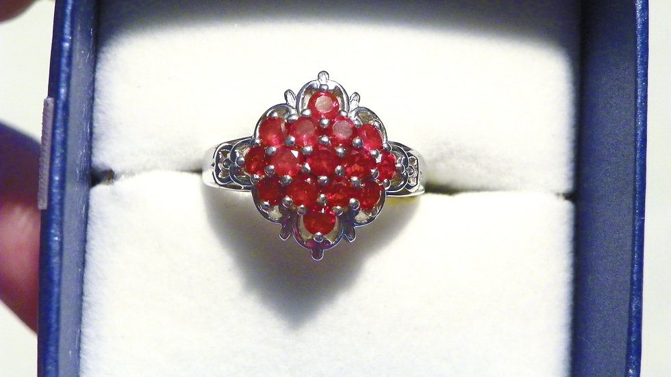 Crimson fire Opal .90 ct ring in Platinum over 925 Sterling size 7