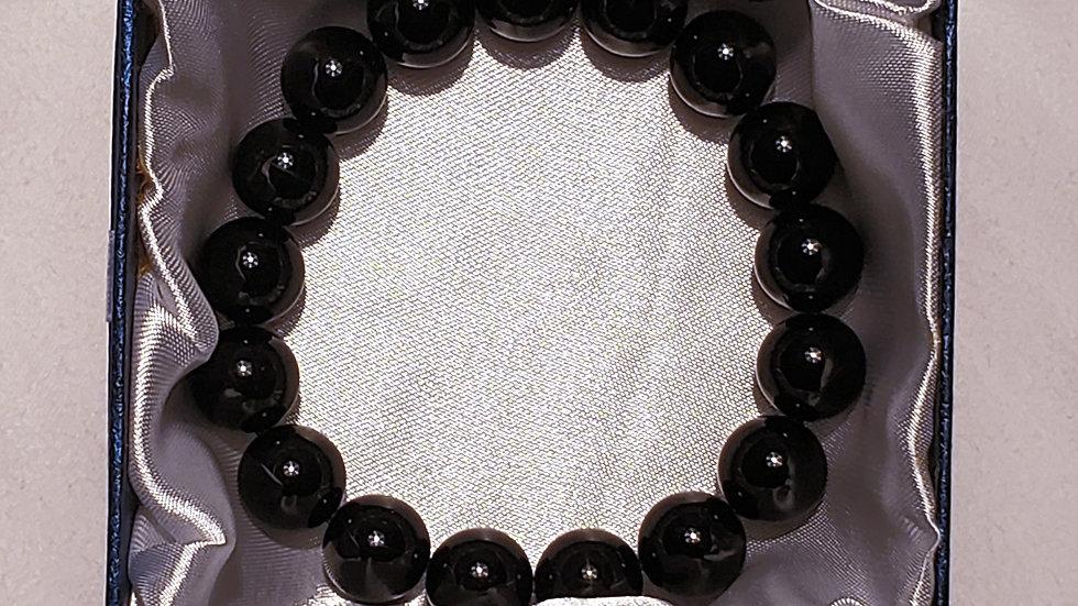 Australian Black Tourmaline stretch bead bracelet 227.50 carats