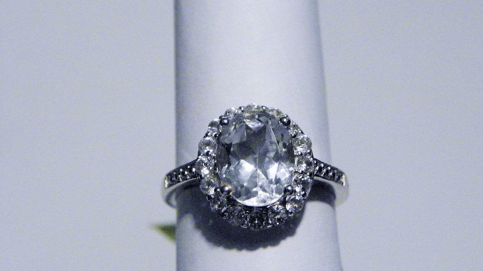 Diamond Cut White Topaz (3.25ct) halo ring w/ accents in Platinum/925 sz 8