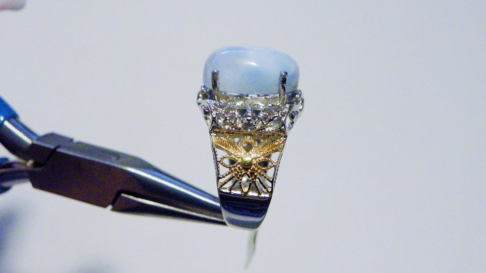 Larimar(6.80cts) ring in 14K YG & Platinum over Nickel Free Sterling size 7
