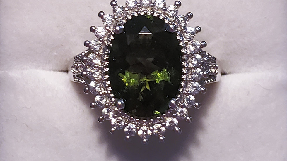 Natural faceted Moldavite & Zircon cocktail ring 6.0 tcw in Plat/925 Sterling