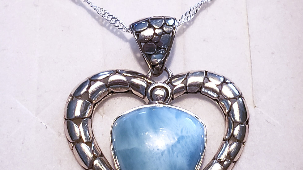 Large Larimar heart necklace in 925 Sterling silver w/ 20 inch 925 wave chain