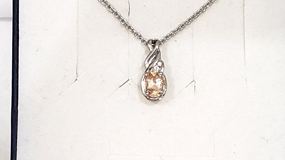 Natural Ceylon Imperial Garnet & White Zircon necklace .63 cts 20 inch