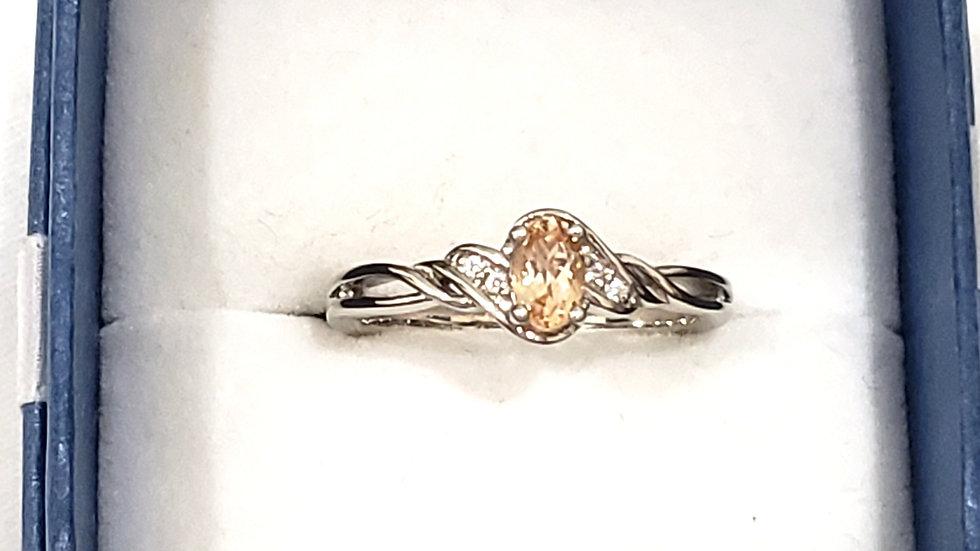 Natural Ceylon Imperial Garnet & White Zircon ring .63 cts sz 9