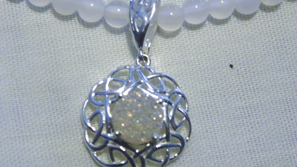 Pearl shimmer druzy quartz and white quartzite necklace 20 in plat/925 107.55 ct