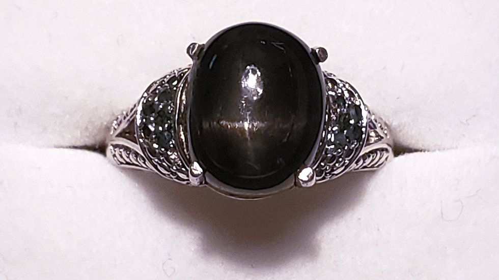 Black Star Diopside and London Blue Topaz ring in platinum/925 sterling sz 8