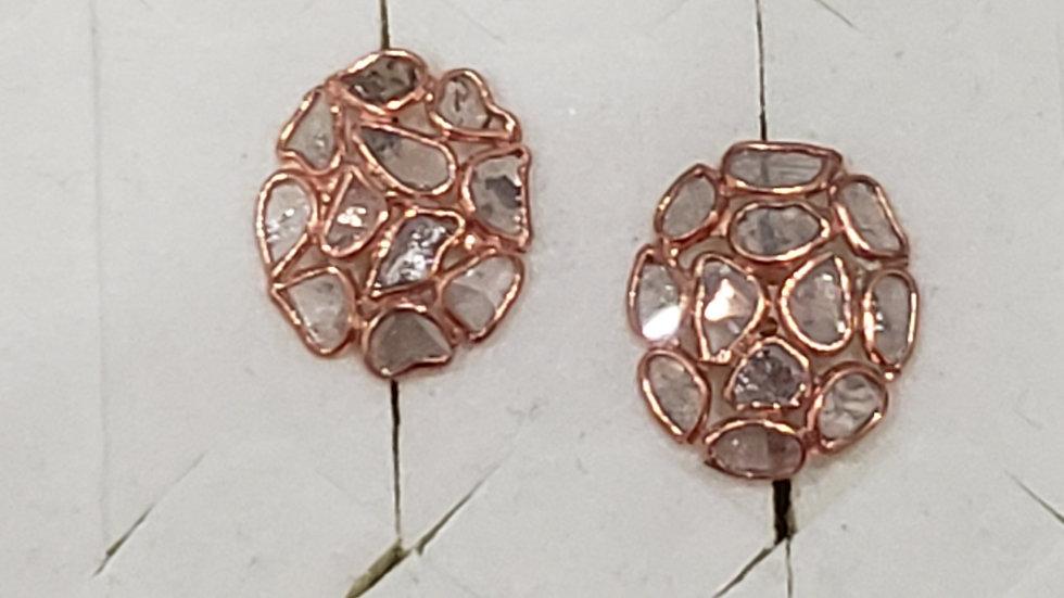 Polki Diamond stud earrings in 14K Rose Gold plated 925 Sterling Silver 1.00 tcw