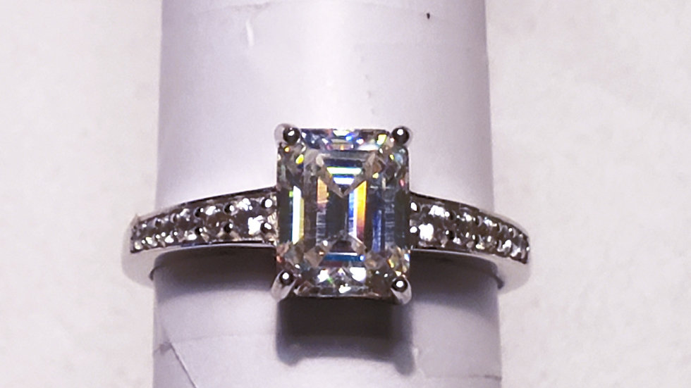 Strontium Titanate & White Zircon engagement ring 2.66 tcw rhodium over 925 sz10