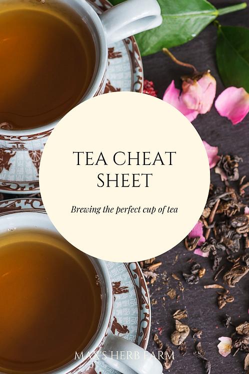 Tea Brewing Cheat Sheet