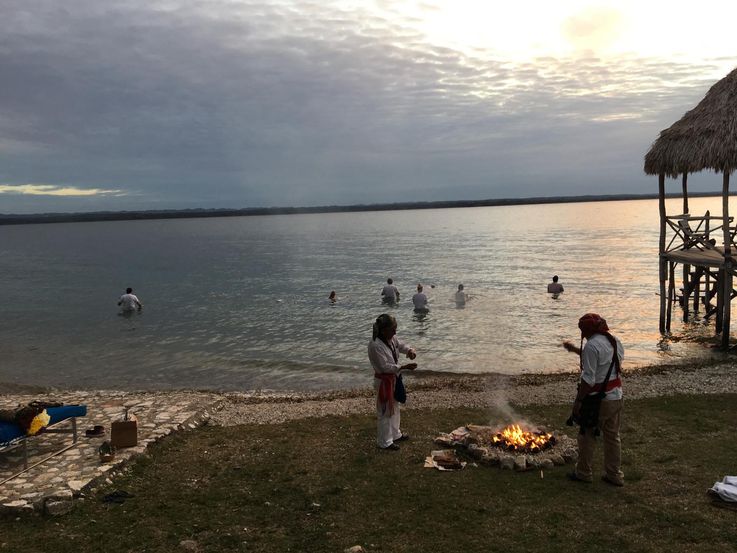 Fire ceremony Peten Itza Lake
