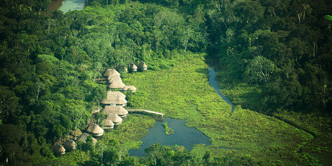 Kapawi Lodge from the air - Amazon Jungle