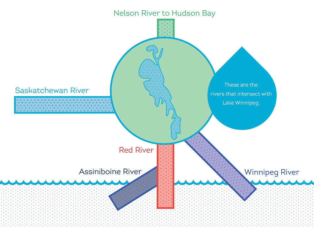 The rivers intersecting with Lake Winnipeg