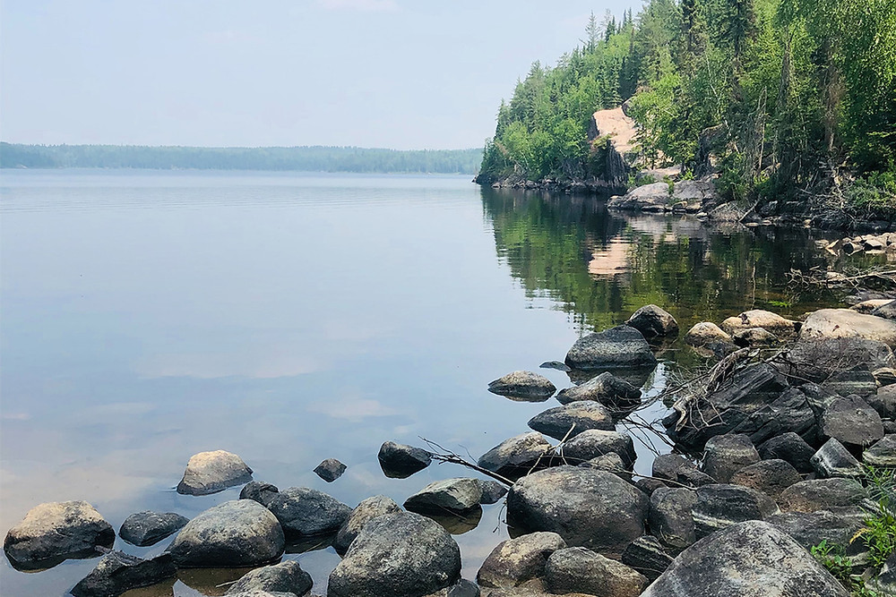 Rocks and trees on the lakeside