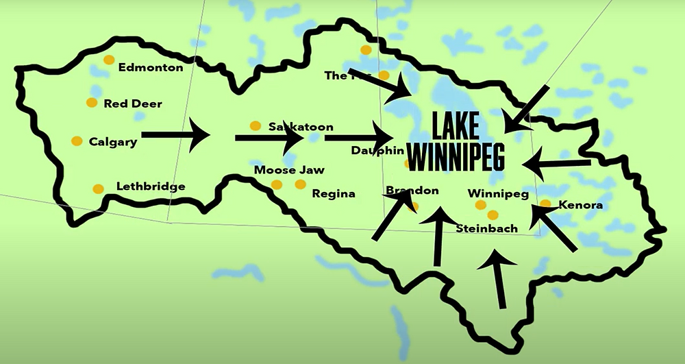 Lake Winnipeg Watershed and the many municipalities that feed into it from Manitoba, Canada, and the United States