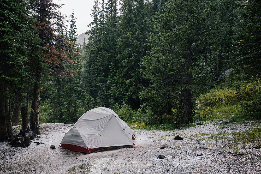 camping on durable rock surface