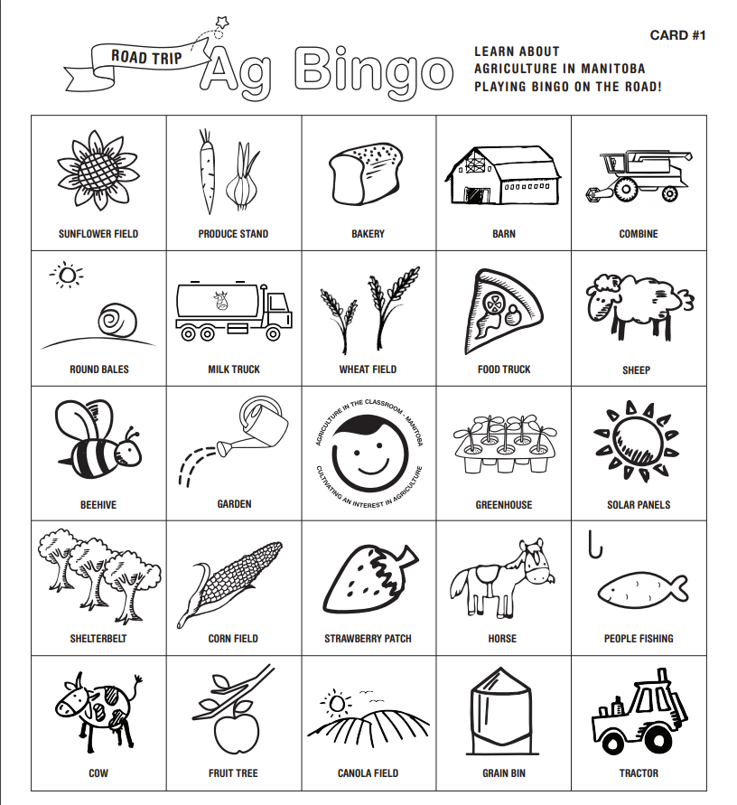 Agriculture bingo card with 25 ag-based topic tiles