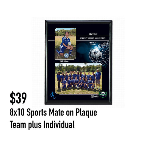 P. 8x10 Sports Mate on a Plaque