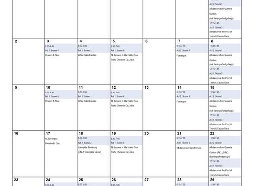 Alice's Adventures in Wonderland February Rehearsal Schedule
