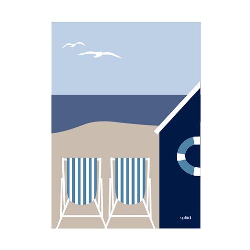 Strand blå