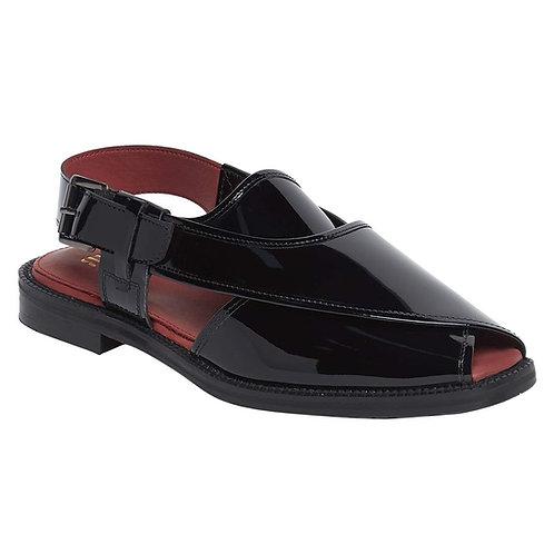 Raymond Black Glossy Sandals