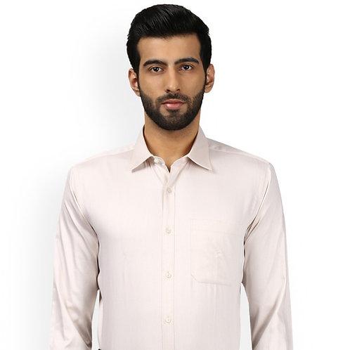 Men Beige Regular Fit Solid Formal Shirt