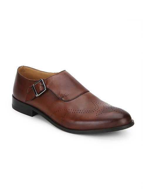 Raymond Hand-Painted Leather Monk Shoes, Brown