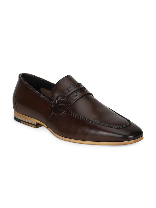 Park Avenue Dark Khaki Leather Slip-ons
