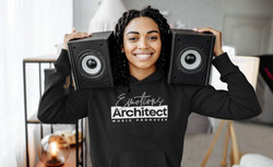 Pretty black woman smiling in a music producer hoodie for musicians