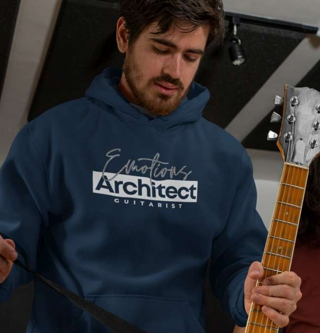 Guitarist in an emotions architect hoodie