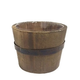 Dark Wood Barrel Pot with Metal Trim