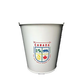 White Metal Canadiana Bucket