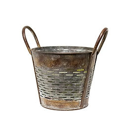 Slatted Rustic Metal Bucket with Handles