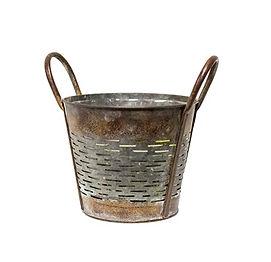 Slatted Rustic Metal Bucket with Handles
