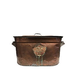 Copper Rustic Metal Bin with Lid