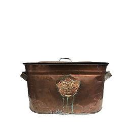 Copper Rustic Metal Bin with Lid