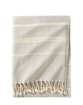 Beige Canvas Throw with Fringe