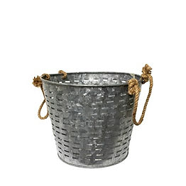 Galvanized Slatted Bucket with Rope Handles