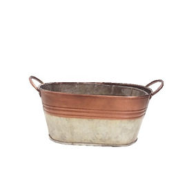 Copper Oval Metal Container with Handles